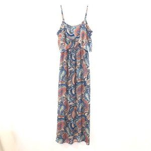 Xhileration Ruffled Paisley Maxi Dress Size L